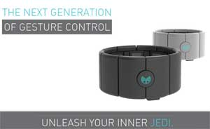 The MYO, gesture control armband, tunes in to the stars wars and sci-fi frequency encouraging people to unleash their inner jedi.